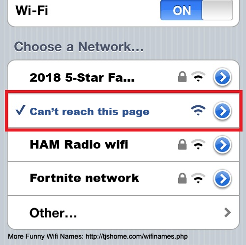 Funny WiFi Name #7520 [Can't reach this page ]